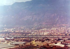 Crossing the city - Panormic view of the city of Bolzano and the completed motorway viaduct